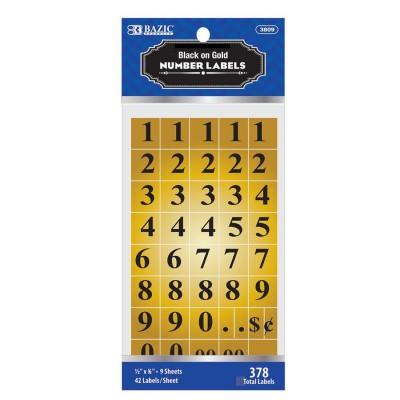 BAZIC Gold Foil Number Label