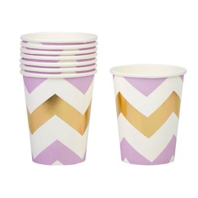 Paper Cups 10PC - Chevron Pink