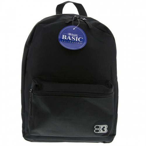 "BAZIC 16"" Black Basic Backpack"