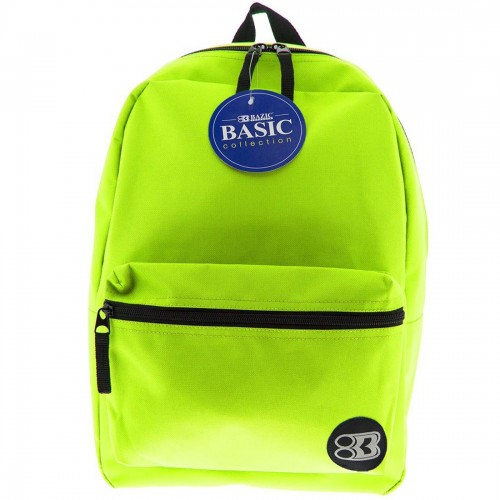 """BAZIC 16"""" Basic Backpack - Lime Green"""