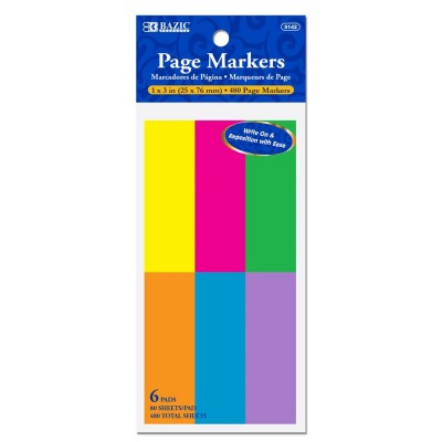 BAZIC Neon Page Markers Set...