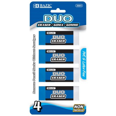 BAZIC Two-Tone Eraser (4/Pack)