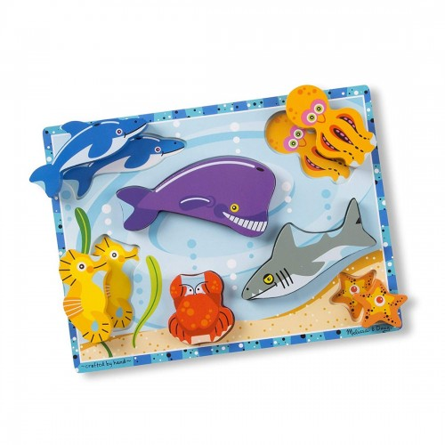 Melissa & Doug Sea Life Wooden Chunky...